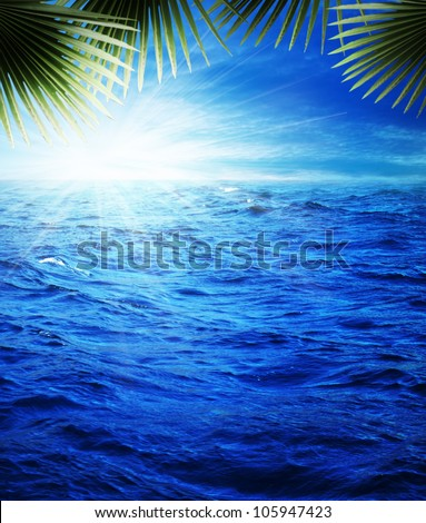 Pretty nice tropical evening on the blue sea, natural backgrounds - stock photo