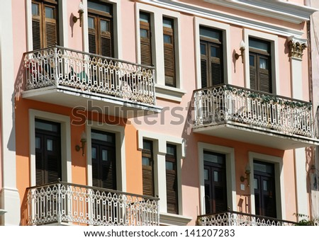Pretty pastel architecture in San Juan, Puerto Rico - stock photo