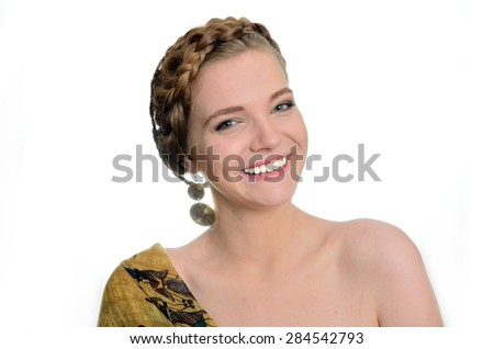 Pretty Polish model with big smile. Female with yellow scarf and earrings. - stock photo