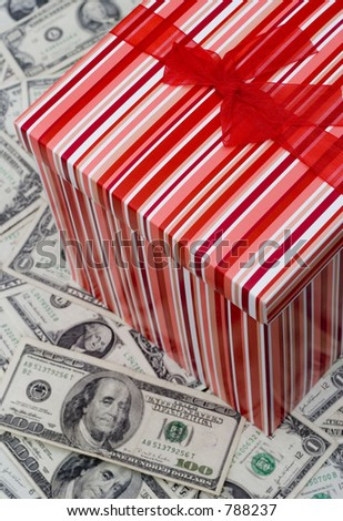 pretty present on cash - stock photo