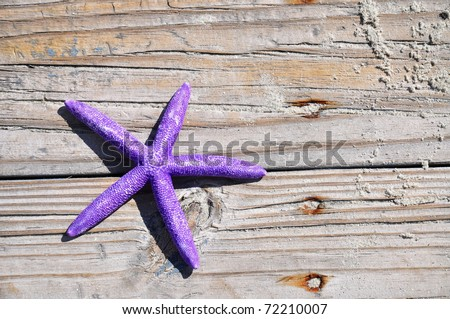 Pretty purple starfish on boardwalk, room for your text - stock photo