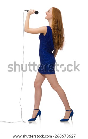 Pretty red hair girl in blue dress isolated on white - stock photo