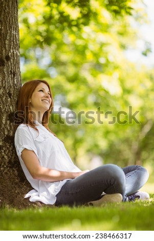 Pretty redhead sitting and smiling in casual clothing in park - stock photo
