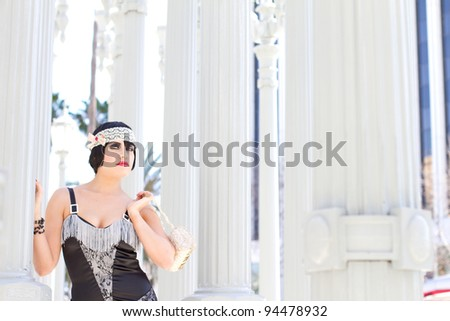 Pretty Retro Woman Flapper Style - stock photo