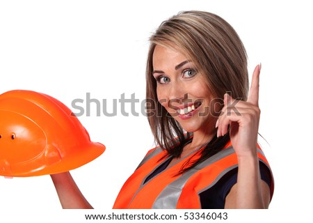 Pretty sexy young woman construction worker contractor with hard hat - stock photo