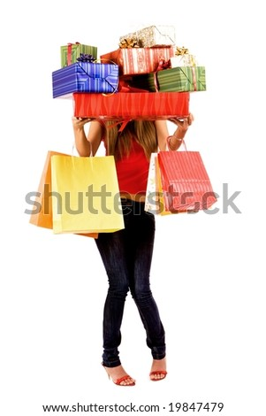 Pretty shopping girl hold many gift boxes and bags. - stock photo