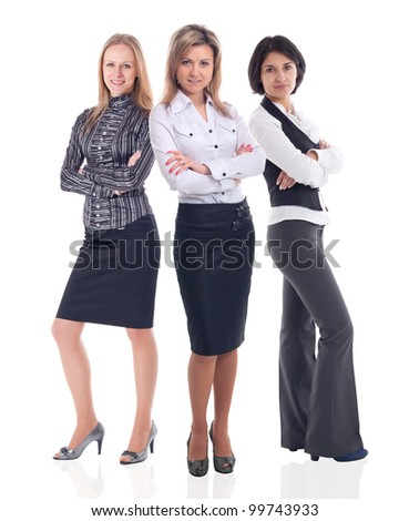 pretty smiling business women standing together - stock photo