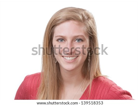 Pretty smiling young woman headshot isolated on white background - stock photo