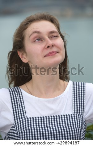 Pretty student girl have an idea - stock photo
