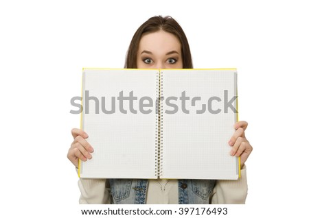 Pretty student holding blank notebook isolated on white - stock photo