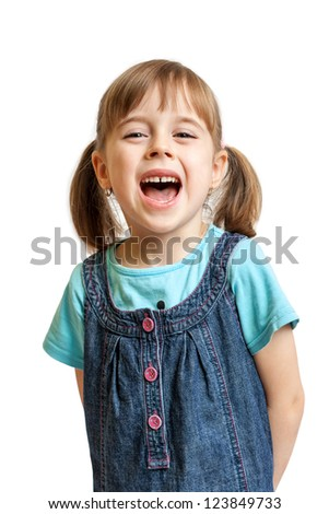 Pretty sweet young girl laughing isolated on white background - stock photo