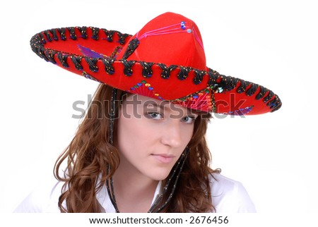 Pretty Teen in Colorful Mexican Hat - stock photo