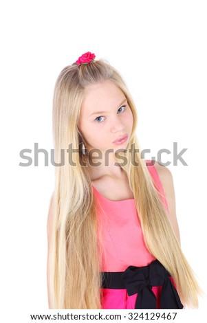 pretty teenage girl in the pink dress - stock photo