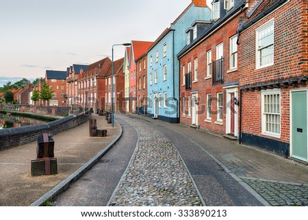 Pretty town houses in the center of Norwich city in Norfolk - stock photo