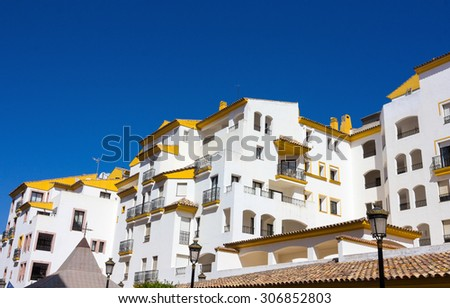 Pretty typical white houses Puerto Banus, Malaga Spain - stock photo