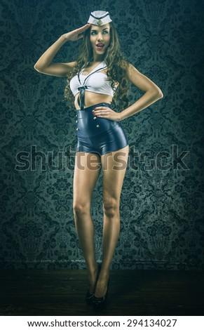 Pretty vintage sailor woman tribute - stock photo
