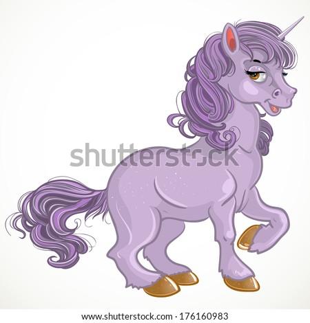 Pretty violet fabulous unicorn - stock photo