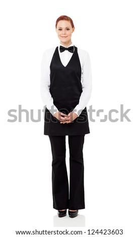 pretty waitress full length portrait isolated on white - stock photo