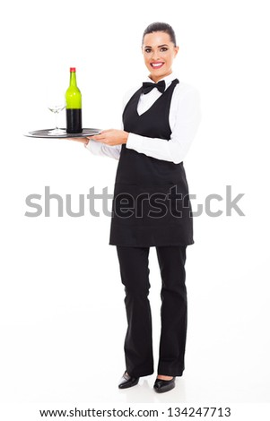 pretty waitress sommelier with tray of wine and glass - stock photo