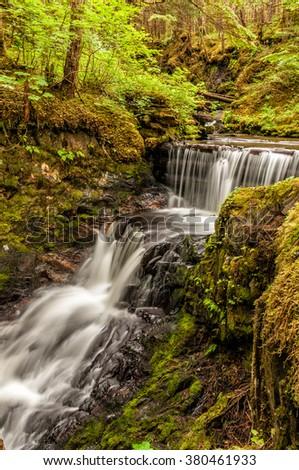 Pretty waterfall along the Mt. Jumbo trail, Douglas Island, Alaska (Near Juneau). Taken on a cloudy misty day in summer. (Vertical) - stock photo