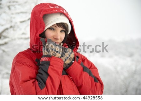 Pretty winter girl in the snow forest - stock photo