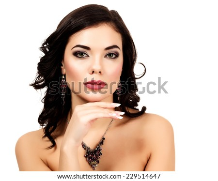 Pretty woman against white background - stock photo