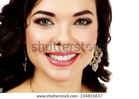 Pretty woman against white background