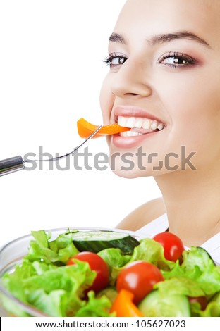 pretty woman and salad on white background - stock photo