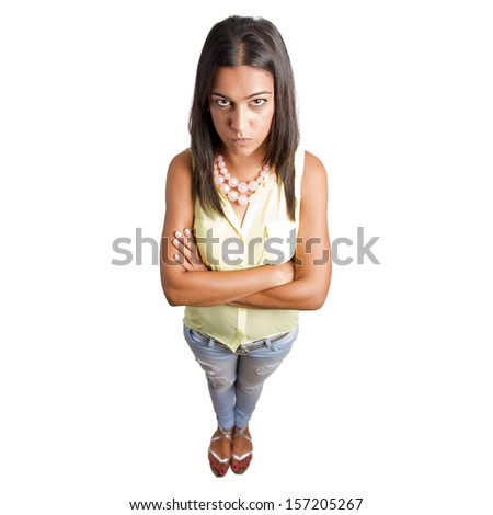 pretty woman angry gesture - stock photo