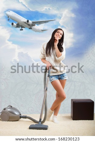 Pretty woman doing housework and dreaming of a vacation  - stock photo