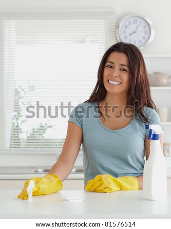 Pretty woman doing the housework in the kitchen - stock photo
