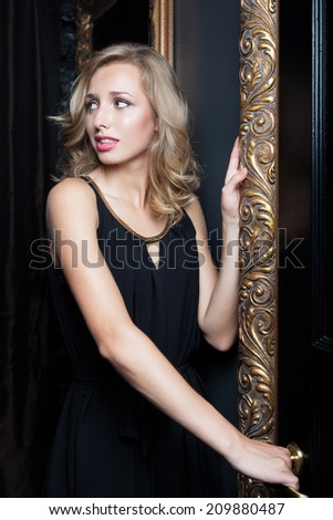 Pretty woman escaping from home - stock photo