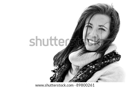 Pretty woman face isolated on white background - stock photo
