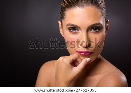 pretty woman fresh beauty shot on black background - stock photo