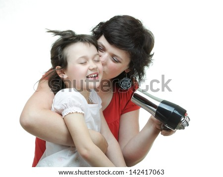 Pretty woman girl drying her hair hairdryer isolated on white - stock photo