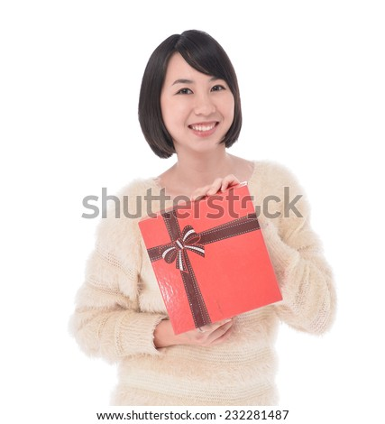 Pretty woman hands a great amount of gift boxes - stock photo