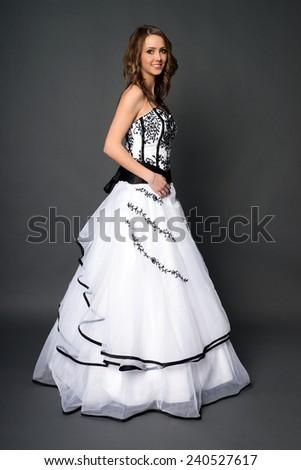 pretty woman in a wedding dress / Wedding - stock photo