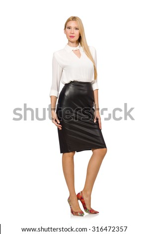 Pretty woman in leather skirt isolated on white - stock photo