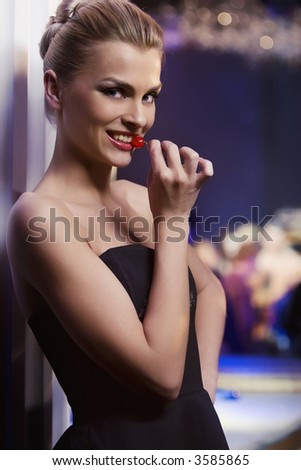 pretty woman in nightclub, different kinds of lighting, - stock photo
