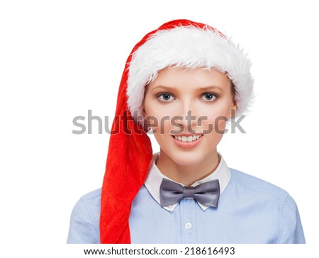 Pretty woman in red Santa hat going on a party - stock photo