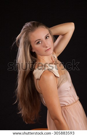 Pretty woman looking thoughtful - stock photo
