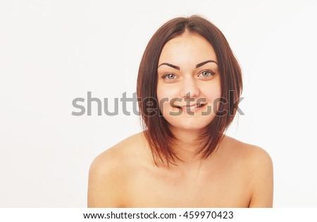 Pretty woman on a white background - stock photo