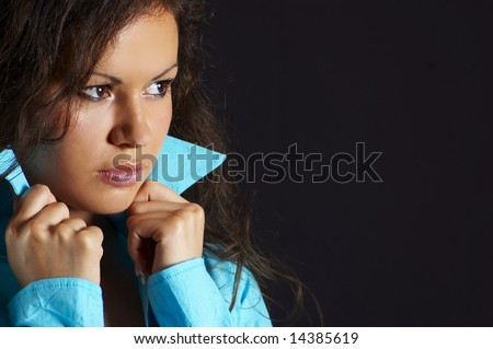 pretty woman, on black background (closeup) - stock photo