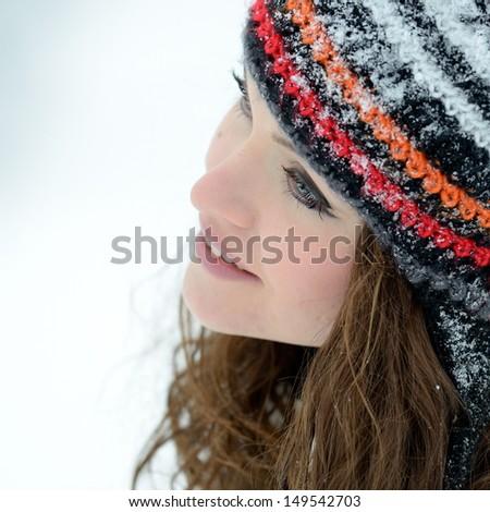pretty woman portrait outdoor in winter - stock photo