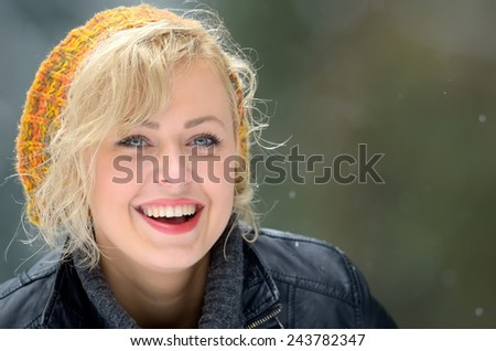 pretty woman portrait outdoor in winter - stock photo