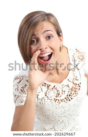 Pretty woman shouting with hand on mouth isolated on a white background               - stock photo