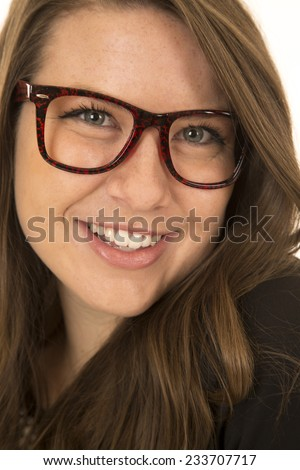 Pretty woman smiling wearing glasses close-up portrait - stock photo