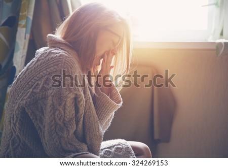 pretty woman waking up and yawning - stock photo