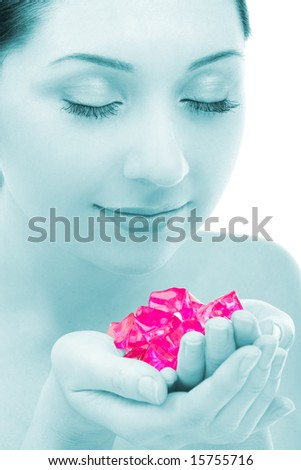 pretty woman with aromatic crystals - stock photo