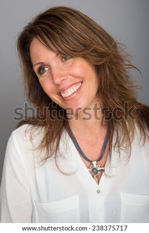 Pretty woman with beautiful smile - stock photo